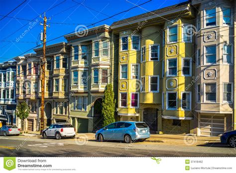Colorful Victorian Homes In San Francisco, Stock Photo