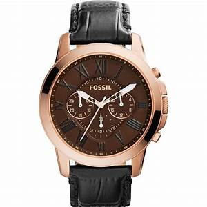 Fossil Grant Mens Watch Rose Gold And Black Leather Buy