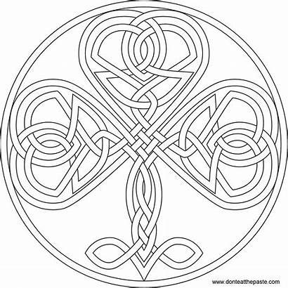 Shamrock Coloring Celtic Pages Knot Adult Knotwork