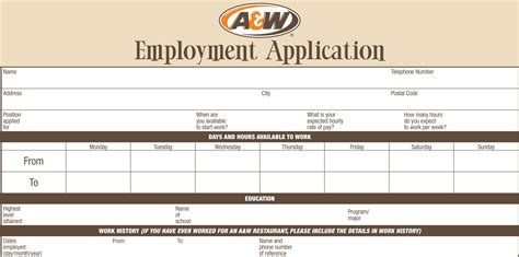 application cuisine a w application printable employment forms