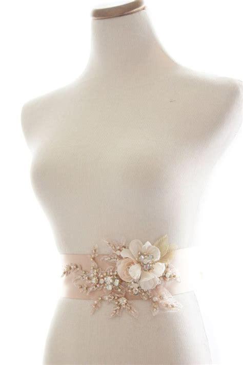 beaded rhinestone bridal sash chagne blush crystal