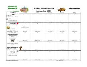 Blank School Lunch Menu Templates