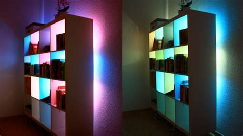 Bookcase Lights by Beautify Your Bookcases With Custom Colour Changing Lights