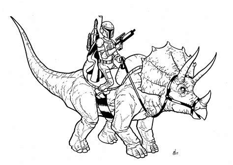 Neills Blog Boba Fett Riding A Triceratops