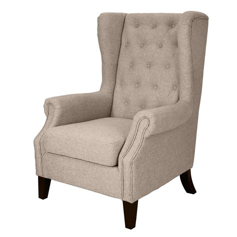donnieann dorothy linen tufted upholstered wing back chair