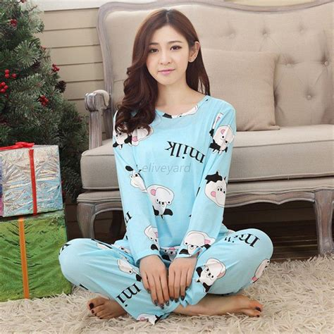 Womens Cartoon Sleepwear Pajamas Set Ladies Long Sleeve