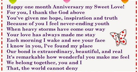 happy  month anniversary poems   words