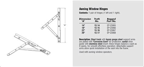 awning window hinges chinook glass screen
