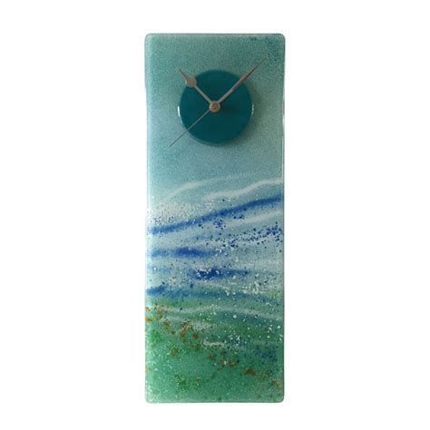 AQUA WAVES FUSED GLASS WALL CLOCK