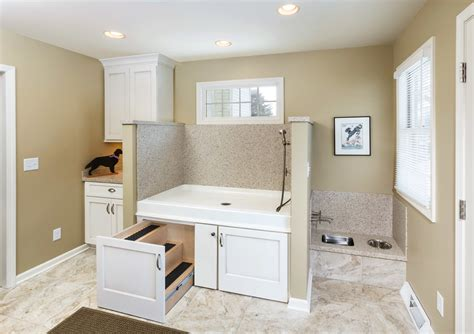 Chic doggie steps in Laundry Room Transitional with