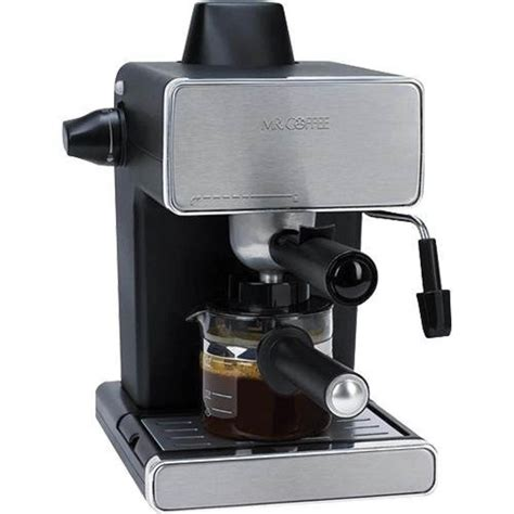 The contemporary steel plated design looks in the modern market of coffee makers, this feature is gaining a lot of appreciation as you might like foamy textured cappuccino to kill your monotony. Mr. Coffee Steam Espresso Machine, Stainless Steel/Black (Certified Refurbished) - Walmart.com ...