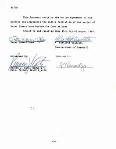 pete rose document signed agreement With a signed documents