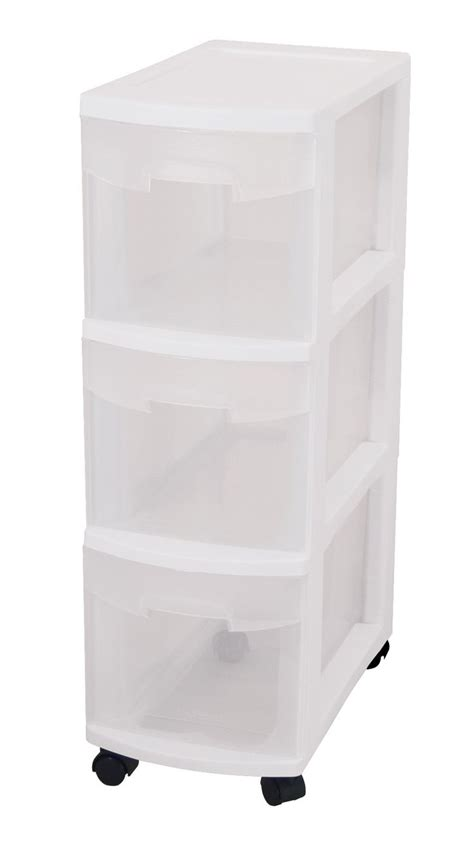 Drawers And Storage by Sterilite 27308003 3 Drawer Narrow Cart With