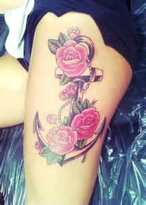 Anchor with Rose Tattoos On Thigh