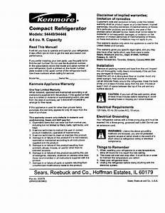 Kenmore 56494446400 User Manual Refrigerator Manuals And