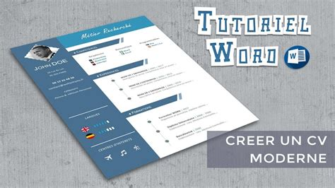 creer un cv moderne word cr 233 er un cv moderne