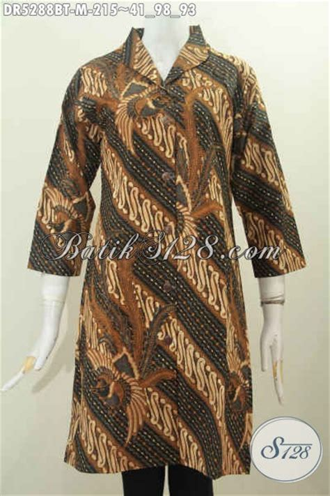 batik dress berkelas bahan halus model terusan kerah