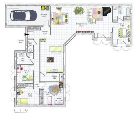 plan maison 100m2 4 chambres plan maison plain pied 4 chambres en u