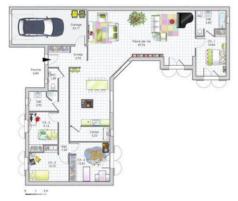 plan maison plain pied 4 chambres garage plan maison plain pied 4 chambres en u