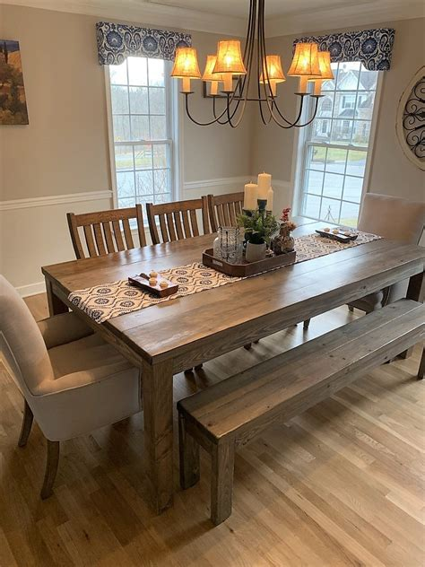 custom  rustic farmhouse dining table  sets  jer