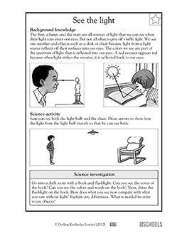 grade science worksheets  light sources