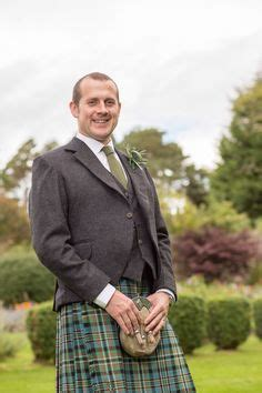In Tartan The Highland Grooms by The Kinloch Day Kilt Jacket In Charcoal Grey