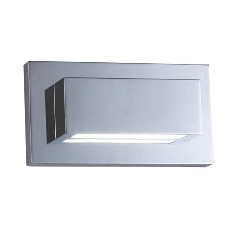 chrome 2 led oblong wall light with up light