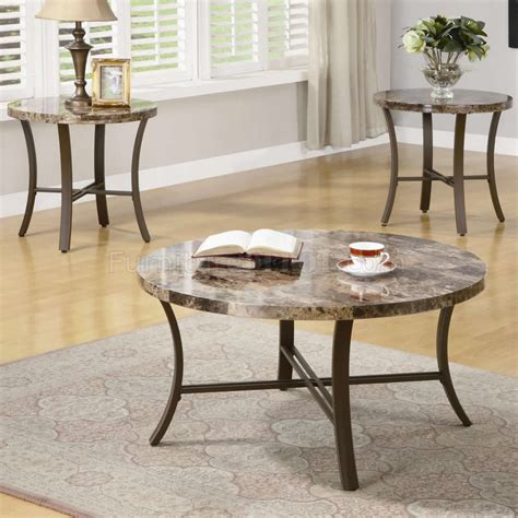 This carefully curated set frames the mixing of materials with white marble tops and lustrous metal bases. Marble-Like Round Top & Metal Base Modern 3Pc Coffee Table Set