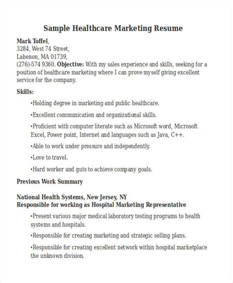 healthcare marketing resume objective 48 simple marketing resumes free premium templates
