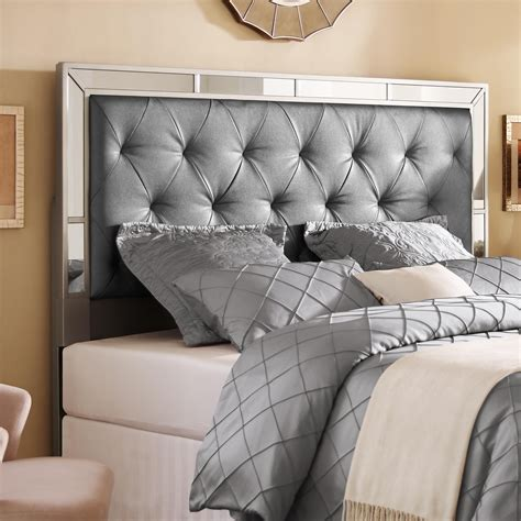 silver queenfull size upholstered tufted mirrored