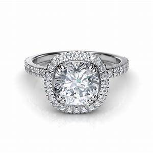 French cut pave cushion cut diamond halo engagement ring for Halo engagement rings with wedding bands