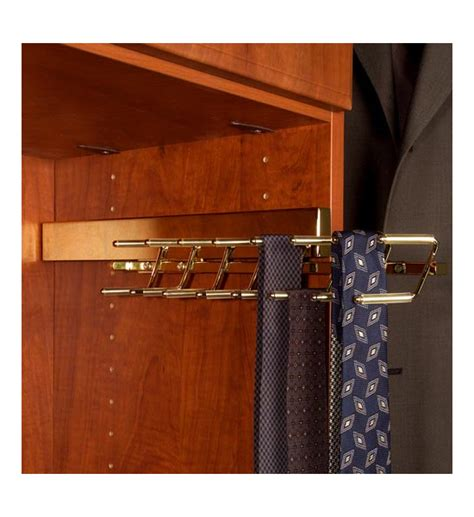 deluxe sliding tie rack polished brass in tie and belt racks