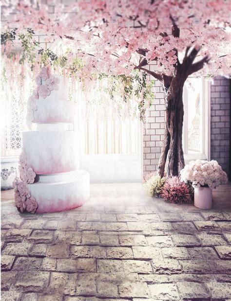romantic pink flower tree indoor wedding photography