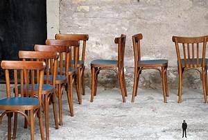 Chaise De Bistrot Bois : lot de 8 chaises bistrot baumann en bois assise bleu p trole gentlemen designers ~ Teatrodelosmanantiales.com Idées de Décoration