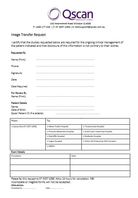 image transfer request form qscan