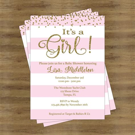 Baby Shower Invite Ideas - pink and gold baby shower invites its a baby shower