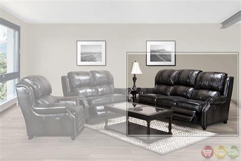 Sm Sofa Set living black top grain leather reclining sofa