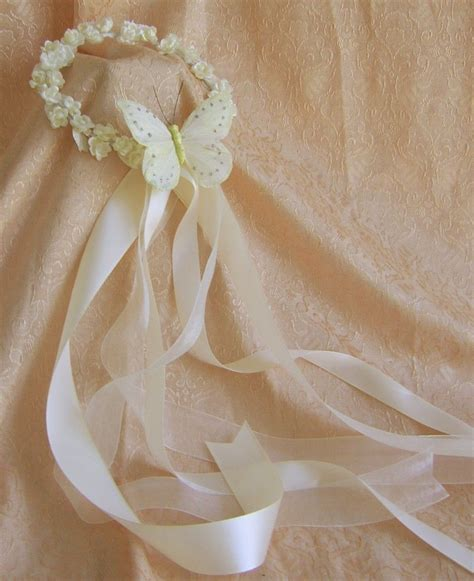 flower girl flower wreath ribbons  butterfly starting