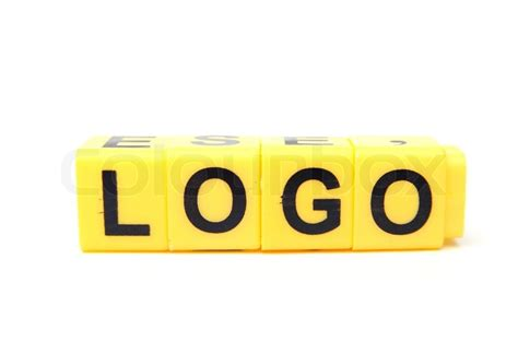 an image of yellow blocks with word logo on them stock photo colourbox