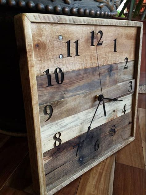 rustic wood clock pallet wall clock reclaimed wood