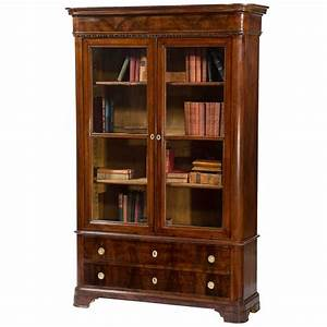 Antique Italian Walnut Bookcase with Glass Doors on The