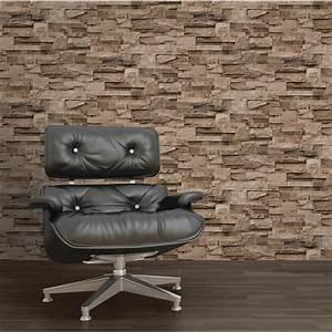 Muriva Stone Brick Effect Wallpaper - Brown