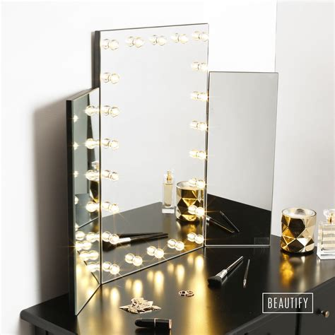 table top mirror with lights beautify led light table top tri 3 way fold folding