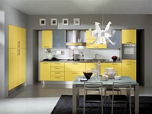 kitchen decorating ideas with red accents grey and yellow With what kind of paint to use on kitchen cabinets for red metal art wall decor