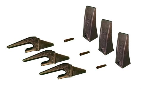mini excavator bucket teeth weld  shanks  pins set   xl  lip ebay