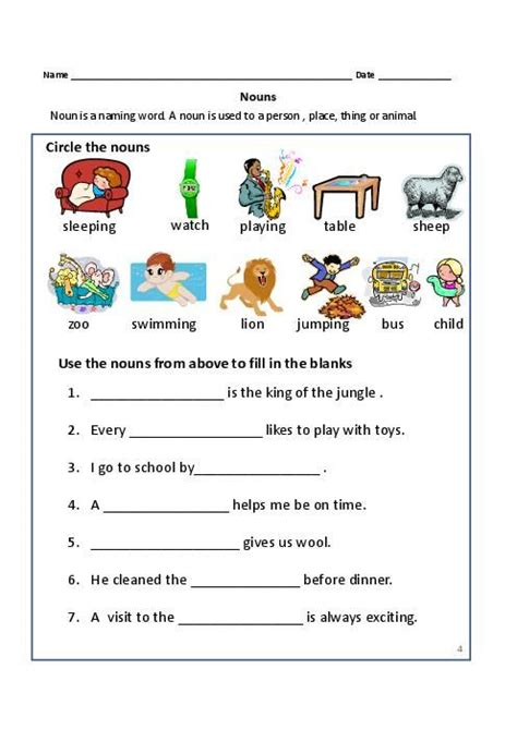 nouns exercises for first grade common proper nouns