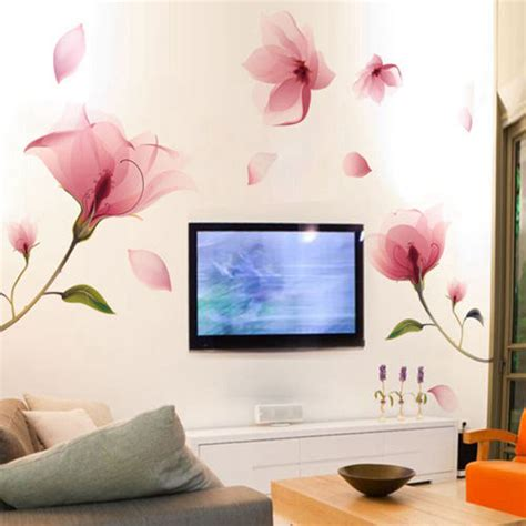 Home Decor Wall Stickers by Removable Pink Flower Wall Sticker Vinyl Mural Decals