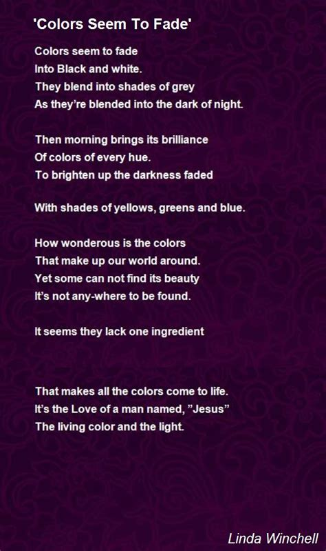colors seem to fade poem by winchell poem