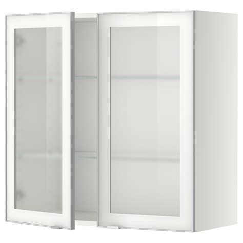 ikea glass wall shelves metod wall cabinet w shelves 2 glass drs white jutis frosted glass 80x80 cm ikea