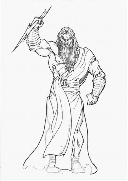 Zeus Drawing Mitologia Grega Coloring Sketch Desenho